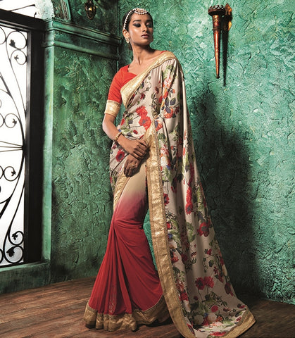 Red Color Half Georgette & Half Crepe Party Wear Sarees : Prunit Collection  YF-37807