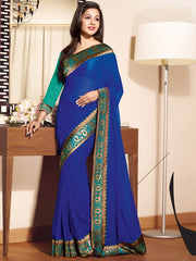 Royal Blue  Color Chiffon  Party Wear Sarees : Prunit Collection  YF-37780