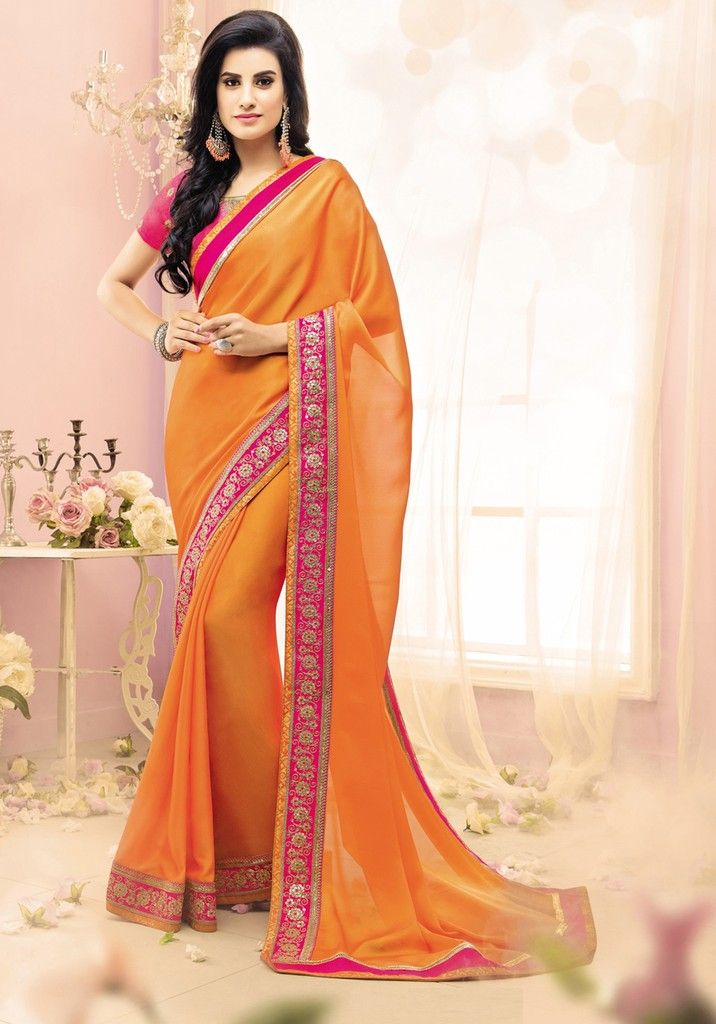 Orange Color Crepe Georgette Designer Festive Sarees : Karini Collection  NYF-1253 - YellowFashion.in