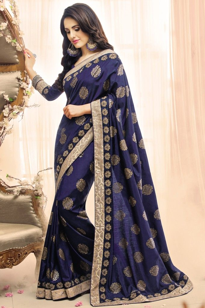 Blue Color Raw Silk Designer Festive Sarees : Karini Collection  NYF-1254 - YellowFashion.in