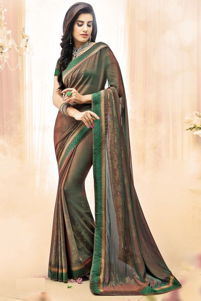 Shades Of Green Color Georgette Designer Festive Sarees : Karini Collection  NYF-1255 - YellowFashion.in