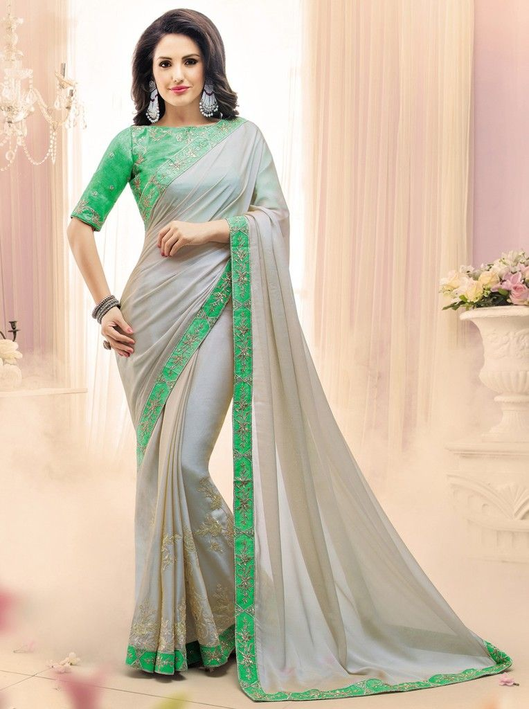 Ash Grey Color Crepe Georgette Designer Festive Sarees : Karini Collection  NYF-1256 - YellowFashion.in