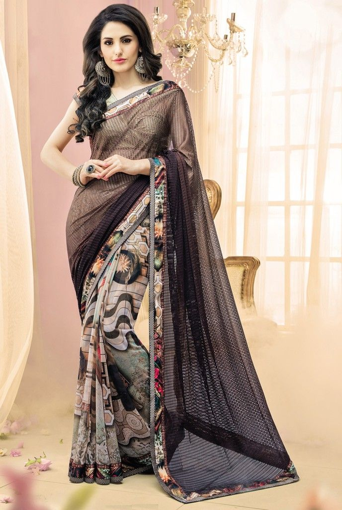 Brown & Cream Color Half Fancy Net & Half Georgette Designer Festive Sarees : Karini Collection  NYF-1257 - YellowFashion.in