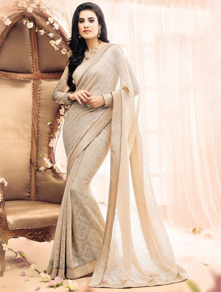 Cream Color Chiffon Designer Festive Sarees : Karini Collection  NYF-1258 - YellowFashion.in
