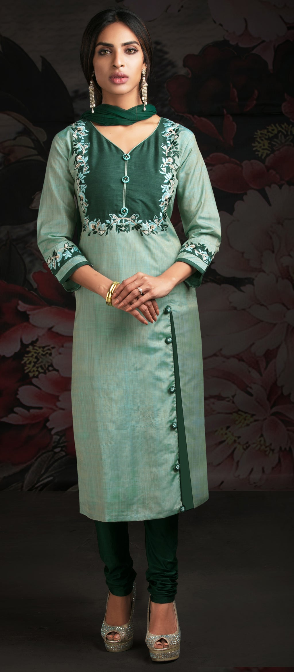 Aqua Green Color Chanderi Readymade Party Wear Straight Suits NYF-9586