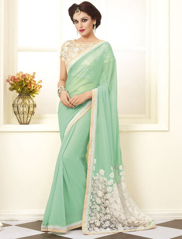 Pearl Green Color Shimmer Georgette Foil Party Wear Sarees : Prunit Collection  YF-37810