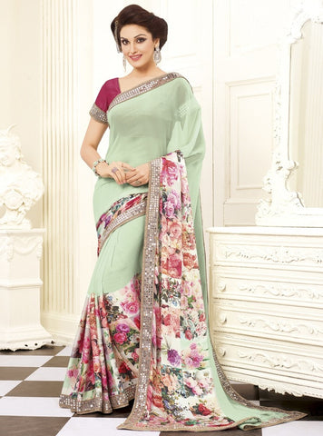 Pastel Green Color Georgette Party Wear Sarees : Prunit Collection  YF-37815