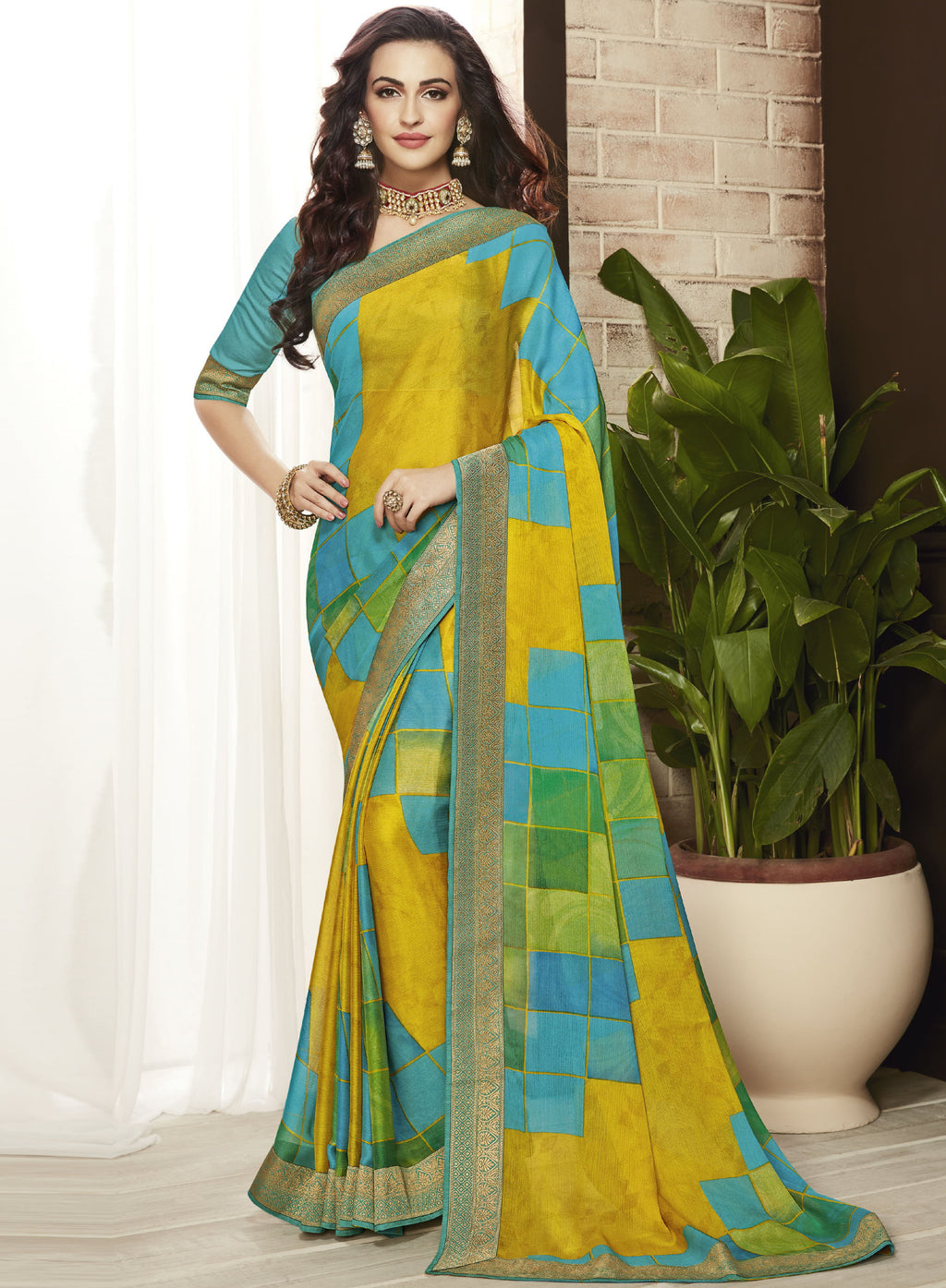 Lime Yellow & Firozi Color Chiffon Printed Sarees For Office Wear NYF-5715
