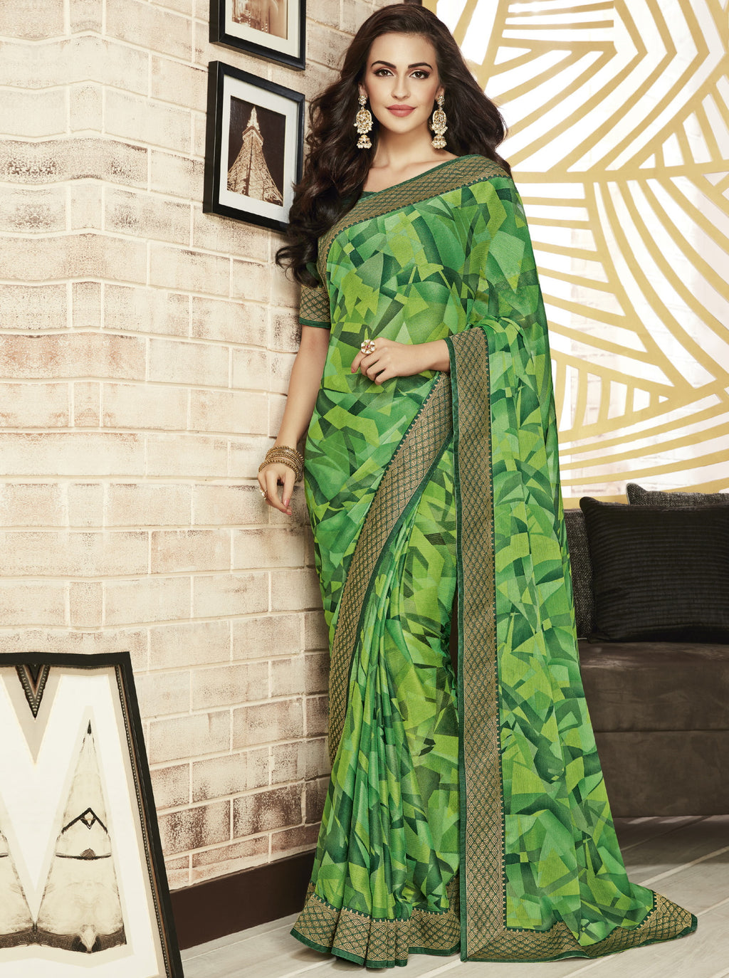 Green Color Chiffon Printed Sarees For Office Wear NYF-5717
