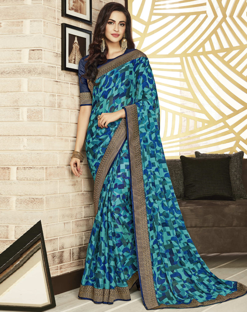 Blue Color Chiffon Printed Sarees For Office Wear NYF-5718