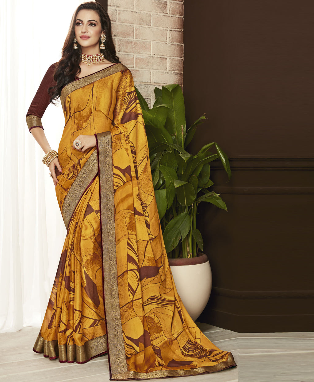 Yellow Color Chiffon Printed Sarees For Office Wear NYF-5719