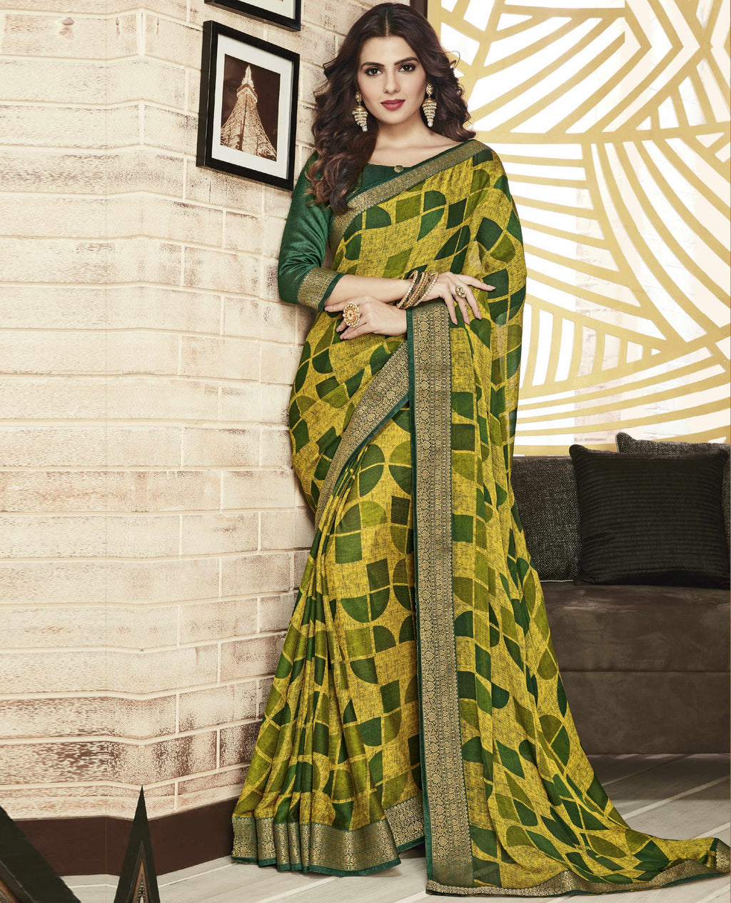 Yellow & Green Color Chiffon Printed Sarees For Office Wear NYF-5720