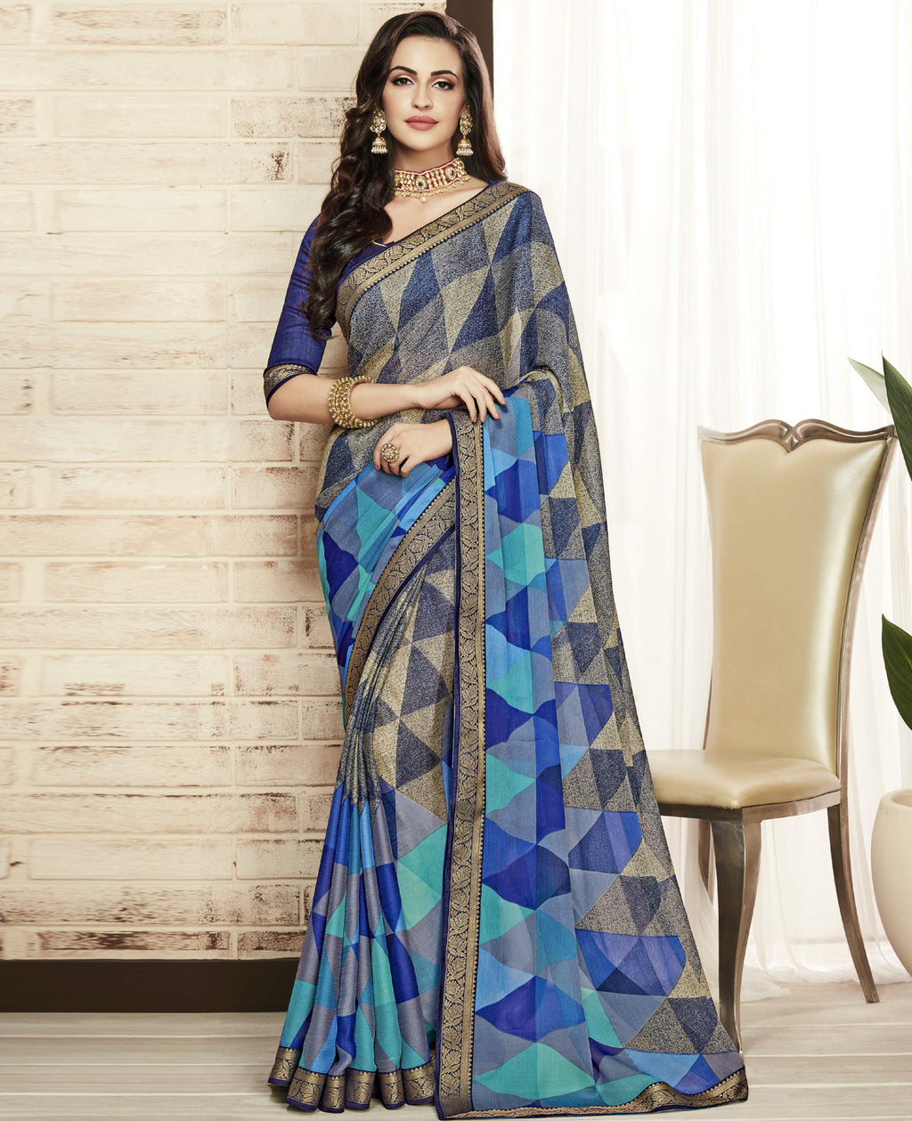 Shades Of Blue Color Chiffon Printed Sarees For Office Wear NYF-5722