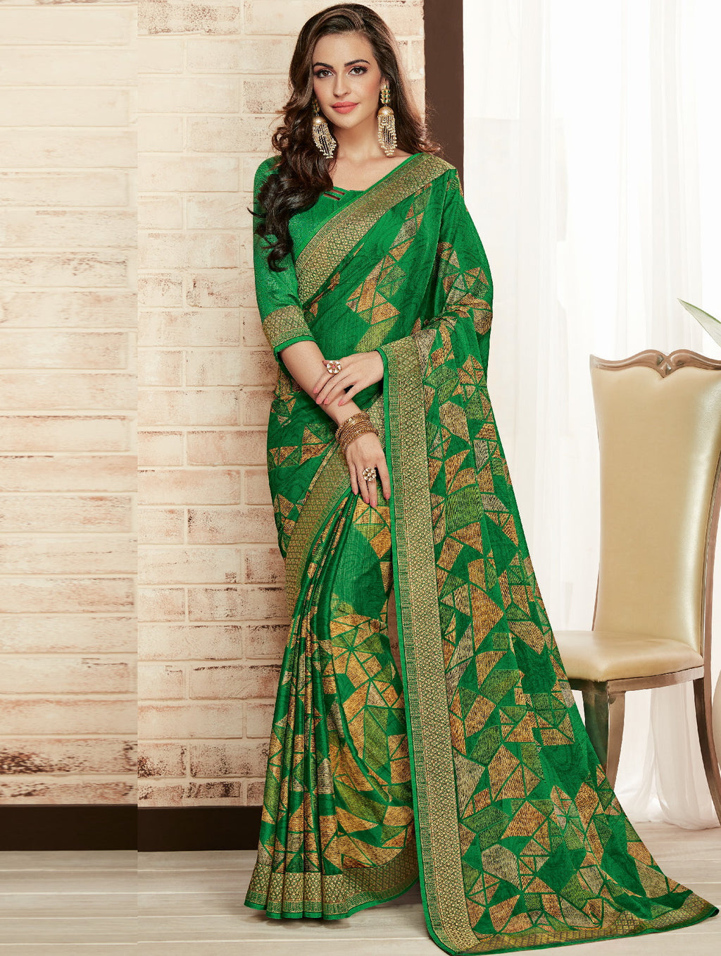 Green Color Chiffon Printed Sarees For Office Wear NYF-5724
