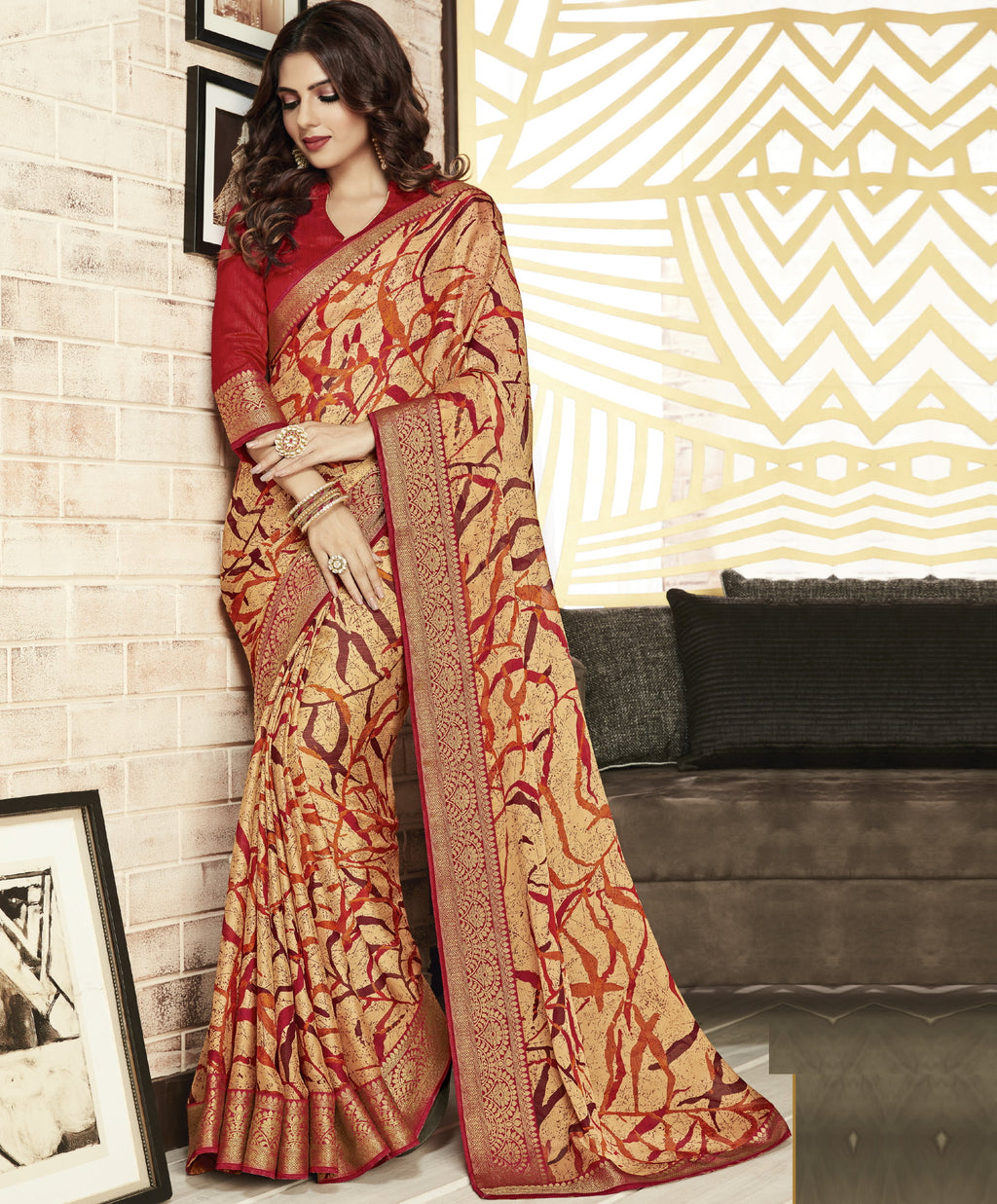 Cream Color Chiffon Printed Sarees For Office Wear NYF-5725