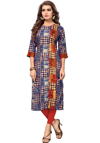 Blue Color Rayon Readymade Party Wear Kurtis : Shokti Collection YF-68602