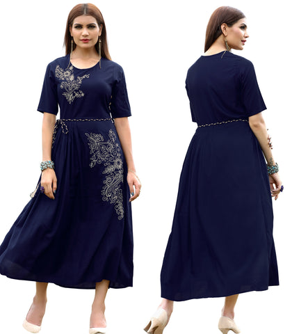 Navy Blue Color Rayon Readymade Party Wear Kurtis : Dhrisha Collection YF-70339