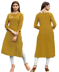 Mustard Yellow Color Rayon Readymade Party Wear Kurtis : Dhrisha Collection YF-70345