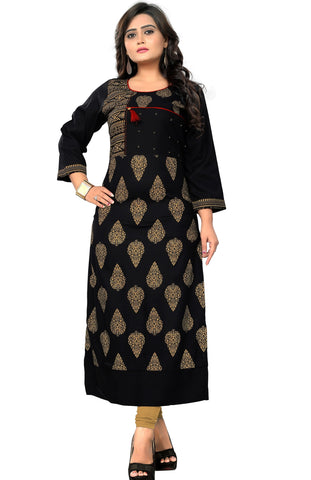 Black Color Rayon Readymade Party Wear Kurtis : Pramita Collection YF-69062