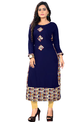 Blue Color Rayon Readymade Party Wear Kurtis : Hatisha Collection YF-69710