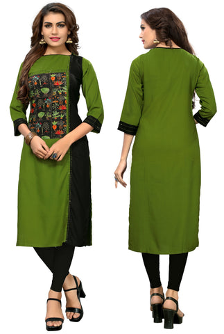 Green & Black Color  Rayon Readymade Party Wear Kurtis : Anusneha Collection YF-70963