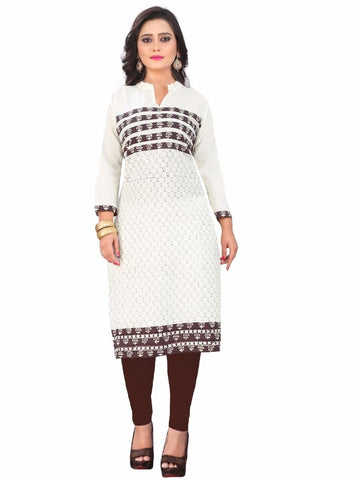 Off White Color Cotton Readymade Casual Wear Kurtis : Krupali Collection YF-62499