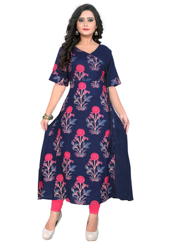 Blue Color Rayon Readymade Casual Wear Kurtis : Krupali Collection YF-62558