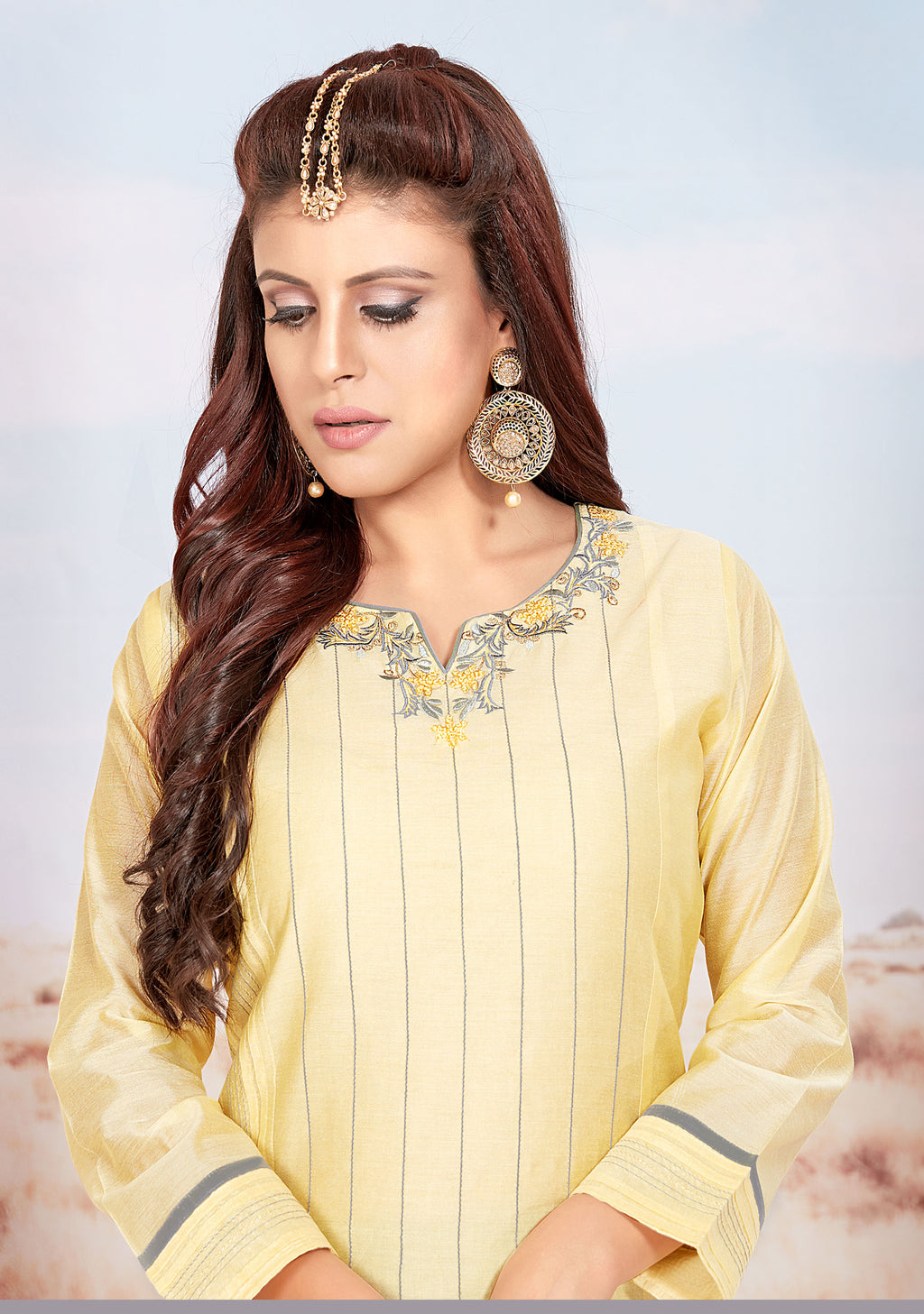 Yellow Color Chanderi Readymade Party Wear Straight Suits NYF-9685