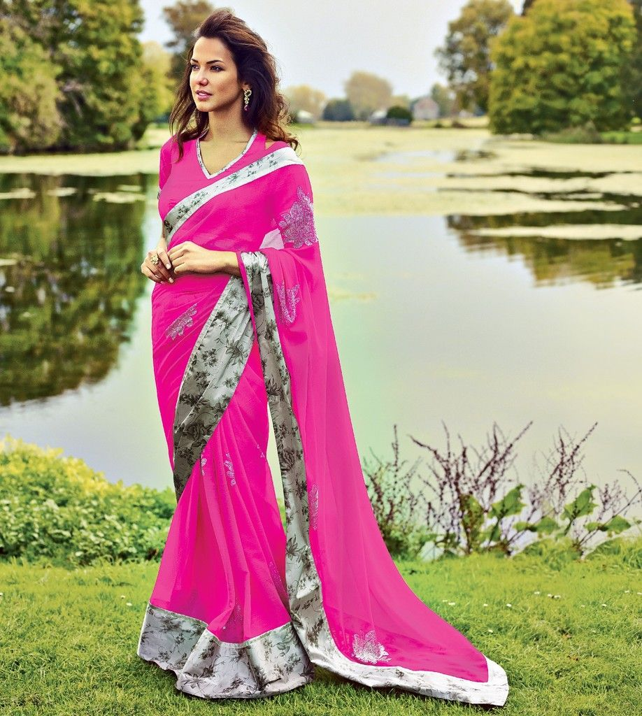 Pink Color Wrinkle Chiffon Designer Festive Sarees : Karini Collection  NYF-1243 - YellowFashion.in