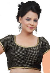Black Color Brocade Readymade Party Wear Blouses (32,34,36,38,40,42): Safeena Collection  YF-51195