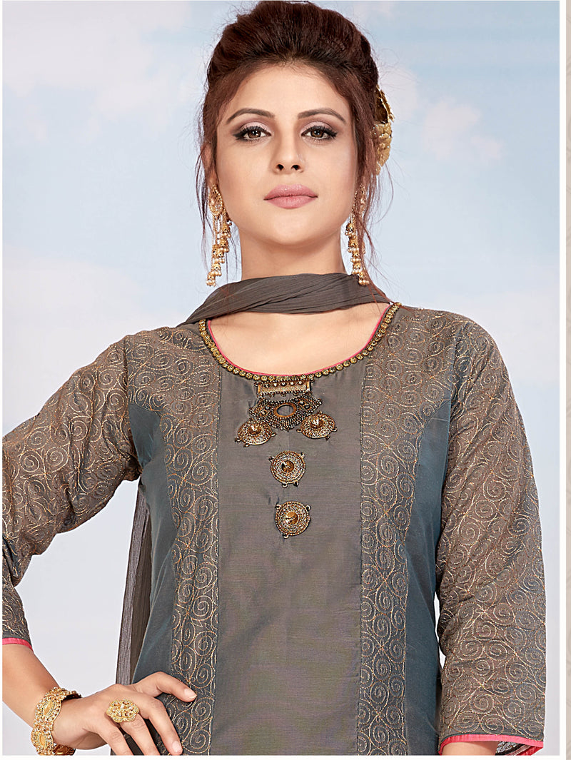 Grey Color Chanderi Readymade Party Wear Straight Suits NYF-9688