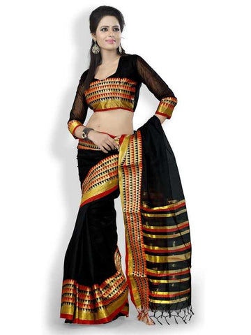 Black Color Cotton Office Wear Sarees : Suhasini Collection  YF-29447