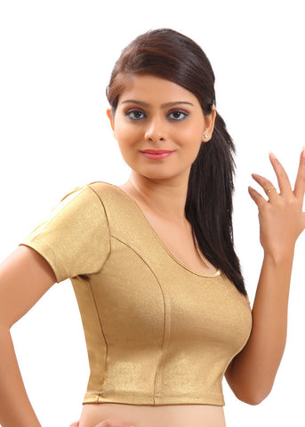 Gold Color Strech Lycra Stretchable Daily Wear Blouses (Fits From 30 To 36 ): Samita Collection  YF-40034