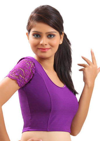 Purple Color Strech Lycra Stretchable Daily Wear Blouses (Fits From 30 To 36 ): Samita Collection  YF-40040