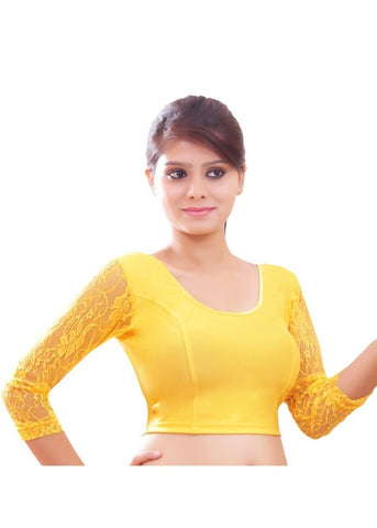 Yellow Color Strech Lycra Stretchable Daily Wear Blouses (Fits From 30 To 36 ): Samita Collection  YF-40050