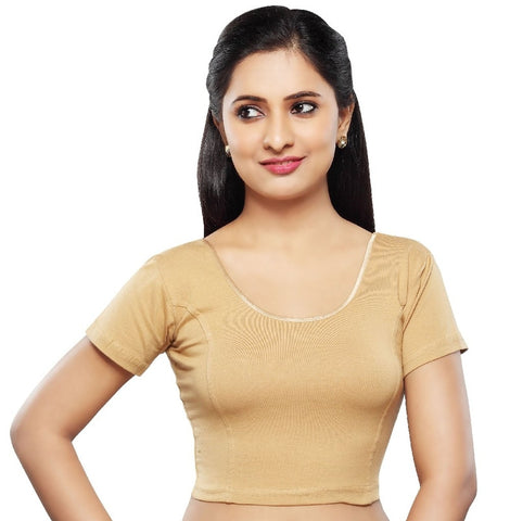 Gold Color Cotton Lycra Readymade Stretchable Blouses (34,36,38,40,42): Nirtisha Collection  YF-42504