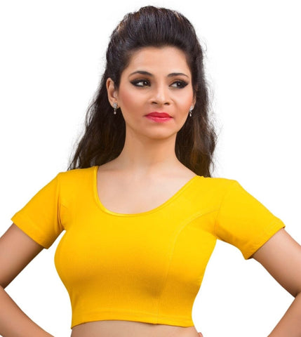 Dark Yellow Color Cotton Lycra Readymade Stretchable Blouses (34,36,38,40,42): Nirtisha Collection  YF-42509