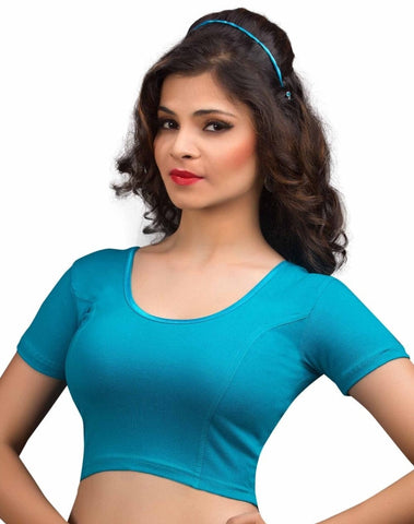 Blue Color Cotton Lycra Readymade Stretchable Blouses (34,36,38,40,42): Nirtisha Collection  YF-42514