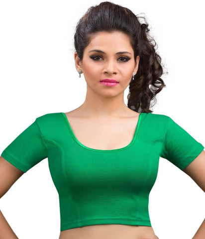 Green Color Cotton Lycra Readymade Stretchable Blouses (34,36,38,40,42): Nirtisha Collection  YF-42524