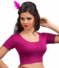 Magenta Color Cotton Lycra Readymade Stretchable Blouses (34,36,38,40,42): Nirtisha Collection  YF-42539