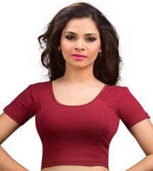 Maroon Color Cotton Lycra Readymade Stretchable Blouses (34,36,38,40,42): Nirtisha Collection  YF-42544