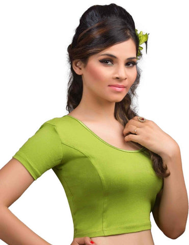 Mehendi Green Color Cotton Lycra Readymade Stretchable Blouses (32,34,36,38,40,42): Krishma Collection  YF-44717