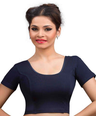 Navy Blue Color Cotton Lycra Readymade Stretchable Blouses (32,34,36,38,40,42): Krishma Collection  YF-44724