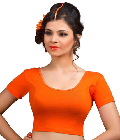Orange Color Cotton Lycra Readymade Stretchable Blouses (32,34,36,38,40,42): Krishma Collection  YF-44731