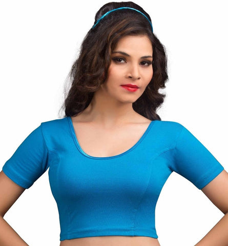 Peacock Blue Color Cotton Lycra Readymade Stretchable Blouses (34,36,38,40,42): Nirtisha Collection  YF-42554