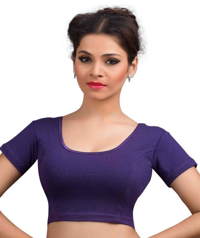 Purple Color Cotton Lycra Readymade Stretchable Blouses (32,34,36,38,40,42): Krishma Collection  YF-44738