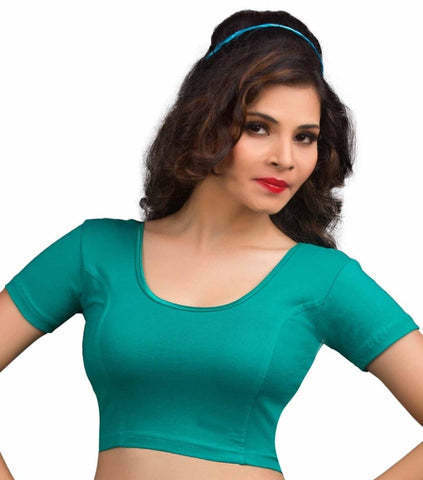 Rama Green Color Cotton Lycra Readymade Stretchable Blouses (34,36,38,40,42): Nirtisha Collection  YF-42564