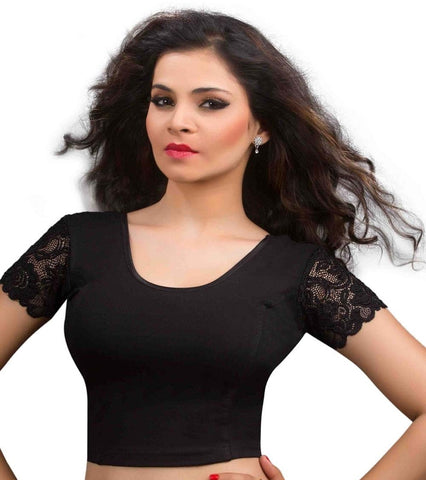 Black Color Cotton Lycra Readymade Stretchable Blouses (32,34,36,38,40,42): Krishma Collection  YF-44745