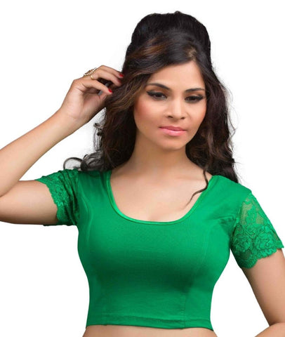 Green Color Cotton Lycra Readymade Stretchable Blouses (32,34,36,38,40,42): Krishma Collection  YF-44752