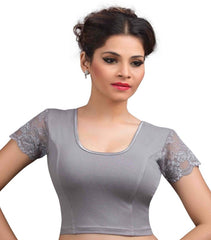 Grey Color Cotton Lycra Readymade Stretchable Blouses (32,34,36,38,40,42): Krishma Collection  YF-44759
